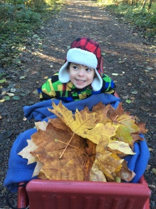 "Sam with his ""leaf treasures"""