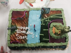 """Sam really wanted this cake from the """"Where's my Water"""" game.  Sam calls it """"Where's my Wallet""""."""